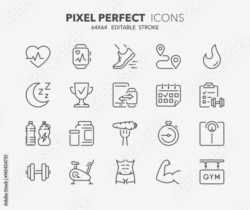 Fototapeta fitness and gym thin line icons 1