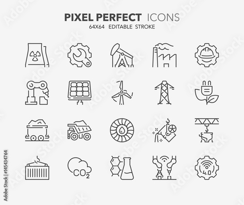 heavy and power industry thin line icons