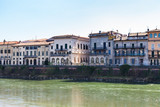 houses on waterfronts in Verona city in spring