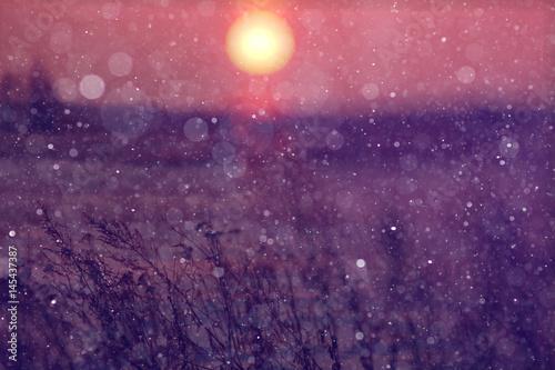 Fotobehang Aubergine winter sunset sun ball at sunset