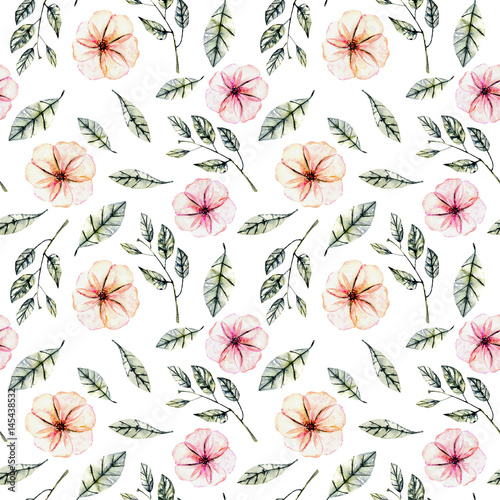 Seamless floral pattern with watercolor pink flowers, green leaves and branches, hand drawn isolated on a white background - 145438532