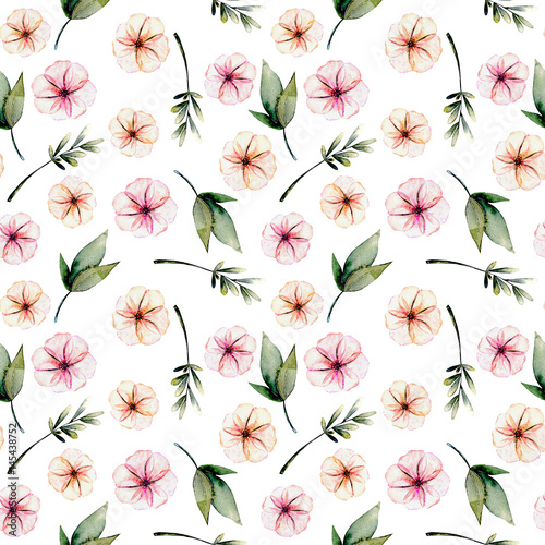 Seamless floral pattern with watercolor pink flowers, green leaves and branches, hand drawn isolated on a white background - 145438752