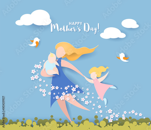 Fototapeta Beautiful women with her children. Happy mothers day card. Paper cut style. Vector illustration