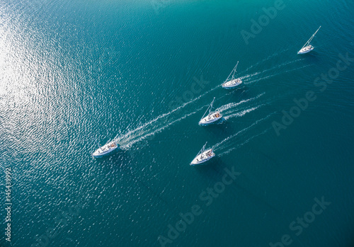 Fotobehang Zeilen Sailing boats in Adriatic, Croatia