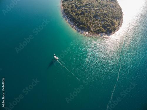 Fotobehang Zeilen Single sailboat in Adriatic, Croatia