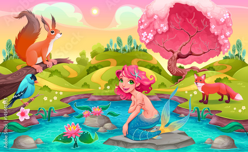 Foto op Canvas Kinderkamer Fantasy scene with mermaid and animals