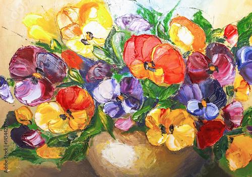 Papiers peints Melon texture oil painting flowers, painting vivid flowers