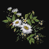Chamomiles embroidery vector. Beautiful white chamomiles, spring flowers on black background. Template for clothes, textiles, t-shirt design - 145450912