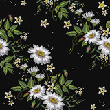 Chamomiles embroidery seamless pattern. Beautiful white сhamomiles on black background. Template for clothes, textiles, spring flowers, t-shirt design - 145450913