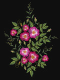 Embroidery wild roses, dogrose flowers vector. Classic style embroidery, beautiful dogrose - 145450923