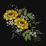 Embroidery sunflowers, flowers vector. Beautiful bouquet sunflowers embroidery template for clothes - 145450933