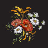 Poppies and chamomiles bouquet embroidery. Beautiful chamomiles, poppies. Classic embroidery for clothes - 145450941