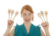 Funny woman with spoons