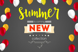 Summer new collection banner. Vintage style text poster with graphic elements and flying an inflatable, colorful, balloons. Template, mock-up online shopping, advertising actions, magazines and other.