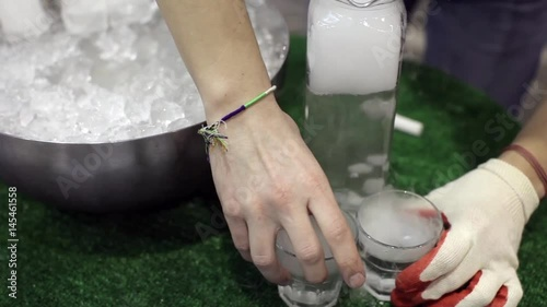 Presentation of Dry Ice, Glasses With Dry Ice and Water