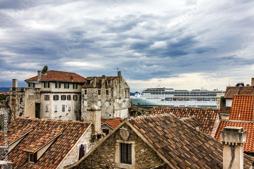 Aluminium Split, Croatia. Cruise liner in sea port