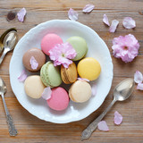 Macarons on white plate