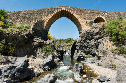 Medieval bridge of Adrano, Sicily, of arabic origin and saracen