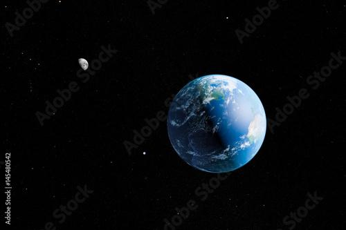 Erde und Mond - Illustration