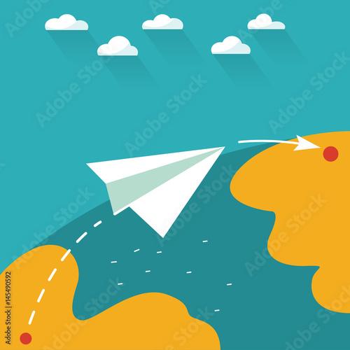 Fotobehang Wereldkaarten Flying paper plane on the blue sky with clouds over world map