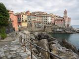 Dorf Tellaro an der ligurischen Mittelmeerküste mit Hafen, Tellaro, Ligurien, Italien
