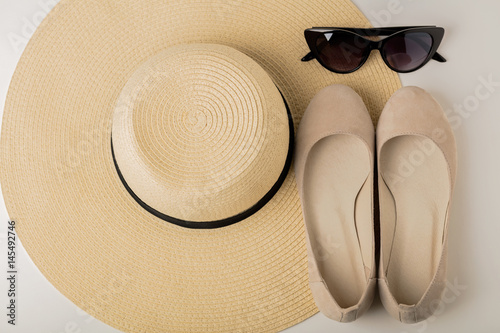 Poster Women's summer accessories - hat, sunglasses and shoes (ballet flats)