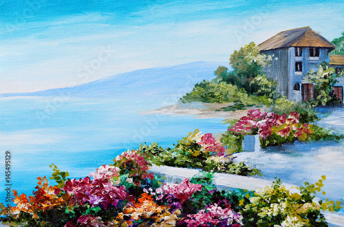 oil painting, house near the sea, sea coast, colorful flowers, summer seascape - 145495129