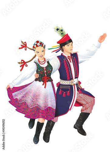 Fototapeta Dancing Krakowiacy Isolated
