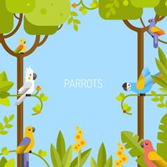 Beautiful tropical background. Jungle, parrots. Vector flat illustration.