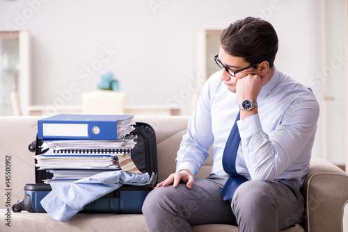 Businessman preparing for the business trip