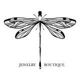 Vector logotype for jewelry boutique, store, shop. Elegant dragonfly silhouette at white background. Outline of dragonfly. Can be used for postcard, print, logo, poster, label.  - 145501378