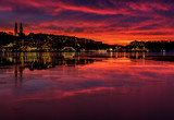 Amazing sunset over the city of Stockholm. - 145506752
