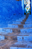 Blue wall and staircase in Chefchaouen medina, Morocco. - 145508567