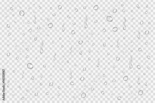 Vector set of realistic water drops on the transparent background.