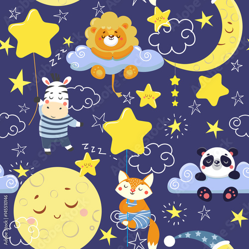 Materiał do szycia Seamless pattern with cute sleeping animals and moons, stars. Vector illustration