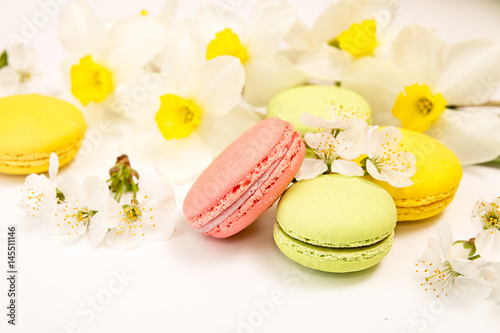 Foto op Aluminium Macarons Macarons on white background against of narcissus and cherry blossom