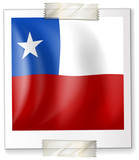 Badge design for Chile flag in square shape