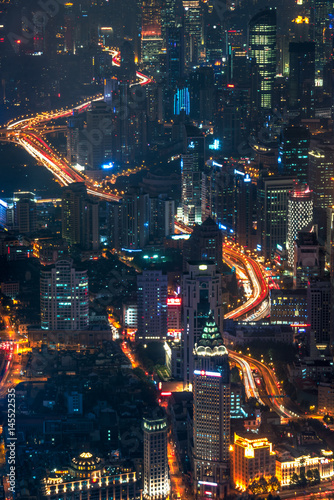 Deurstickers Amsterdam illuminated cityscape at night,panoramic view in city of China.