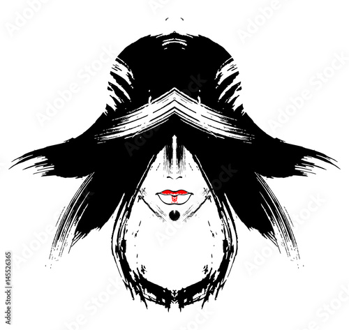 beautiful girl in a hat drawn blots © warmtail