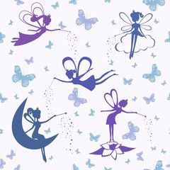 Pattern with fairy vector