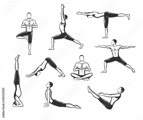 Yoga Workout Silhouettes Of A Man In Tree Sirsasana Boat Warrior