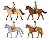 Fototapety Man, Woman, Boy, Girl riding horses Vector Illustration Set, isolated. Family equestrian sport training horseback ride
