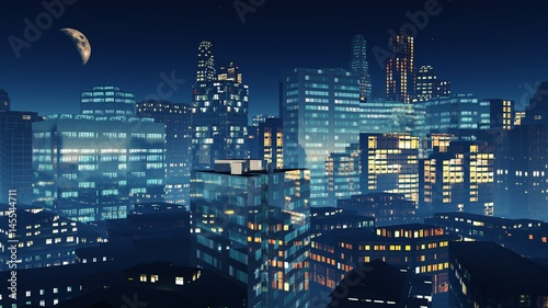 Beautiful view of the night city, night city landscape, 3d rendering