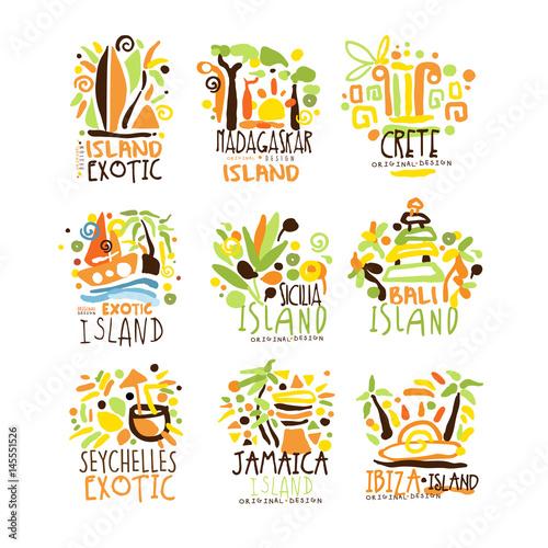 Madagascar, Crete, Bali, Seychelles, Ibiza, Jamaica resort set for label design. Summer beach tourism and rest vector Illustrations
