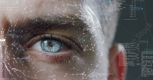 human being futuristic vision, vision and control and protection of persons, control and security in the accesses.Concept of: dna system, scientific technology and science. - 145554564