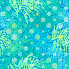 Ink hand drawn Jungle seamless pattern with Palm leaves