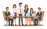 Set of business characters working in office. Vector illustration design - 145561140
