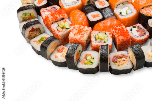 Plakat Set of sushi, maki and rolls isolated on white