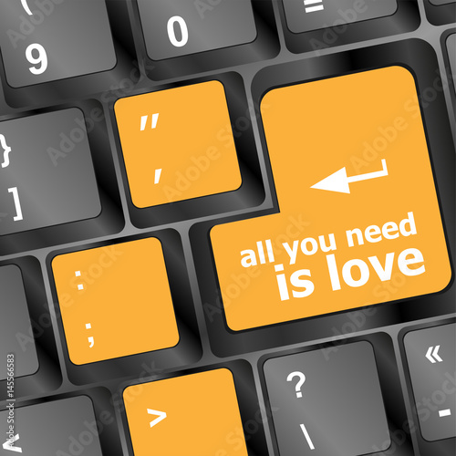 Computer keyboard key - all you need is love Poster