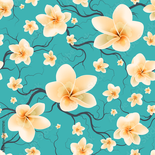 Seamless Pattern Flowering Branches - 145570761